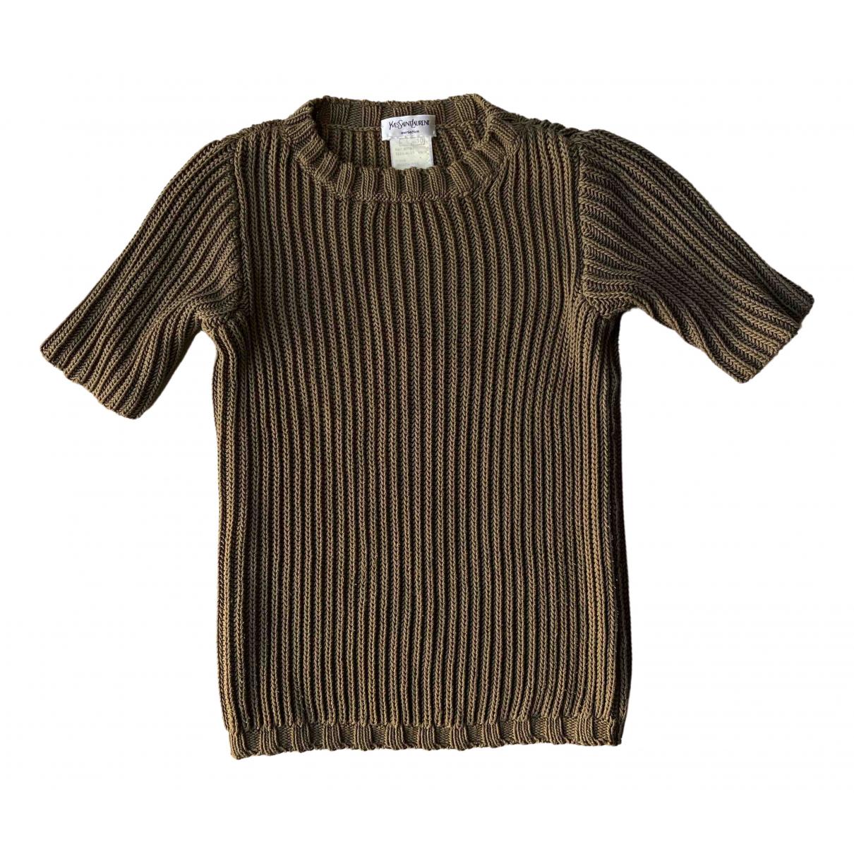 Yves Saint Laurent - Pull   pour femme en coton - kaki