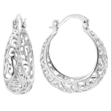 Silver Reflections Pure Silver Over Brass Hoop Earrings, One Size , No Color Family