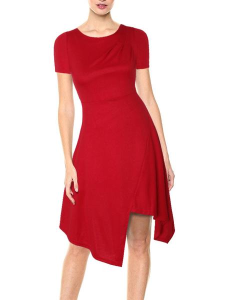 Milanoo Vestido de verano Vestido de playa de algodon con cuello joya rojo