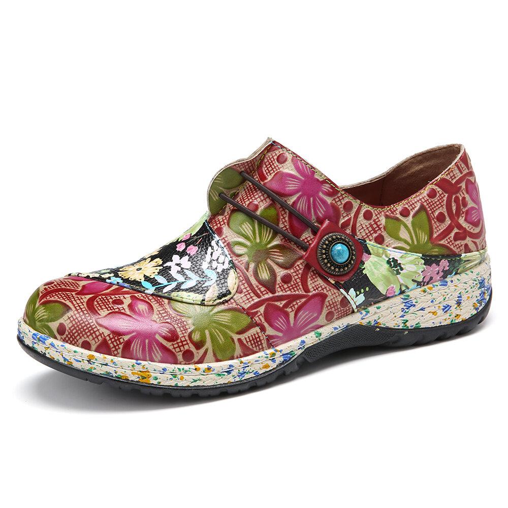 SOCOFY Retro Buckle Fancy Flowers Splicing Genuine Leather Stitching Zipper Slip On Flat Shoes