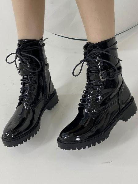 Milanoo Botines de mujer Botas de punta redonda superior de PU de charol negro 1.4