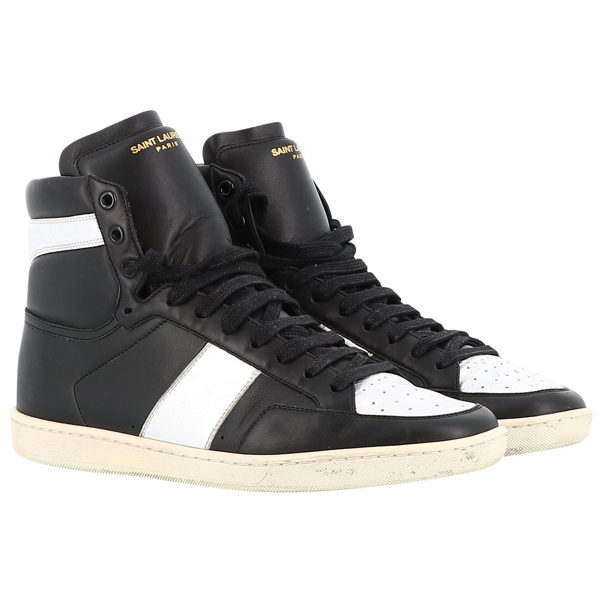Saint Laurent \N Black Leather Trainers for Men 42 EU