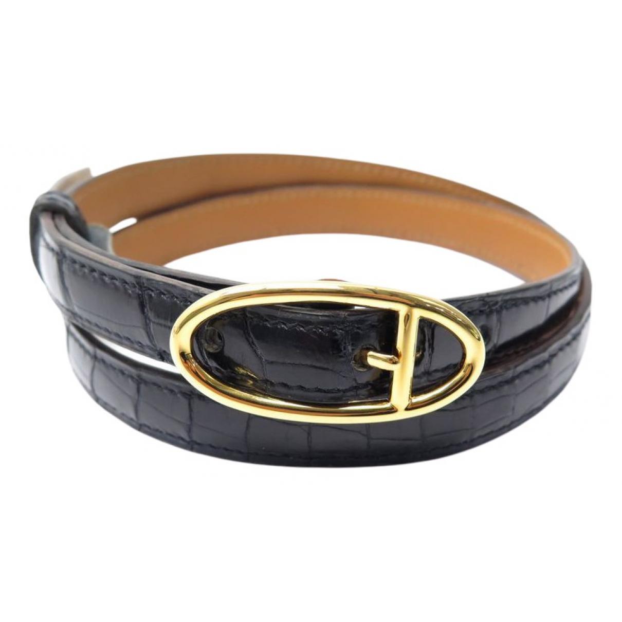 Hermès \N Black Crocodile belt for Women 75 cm