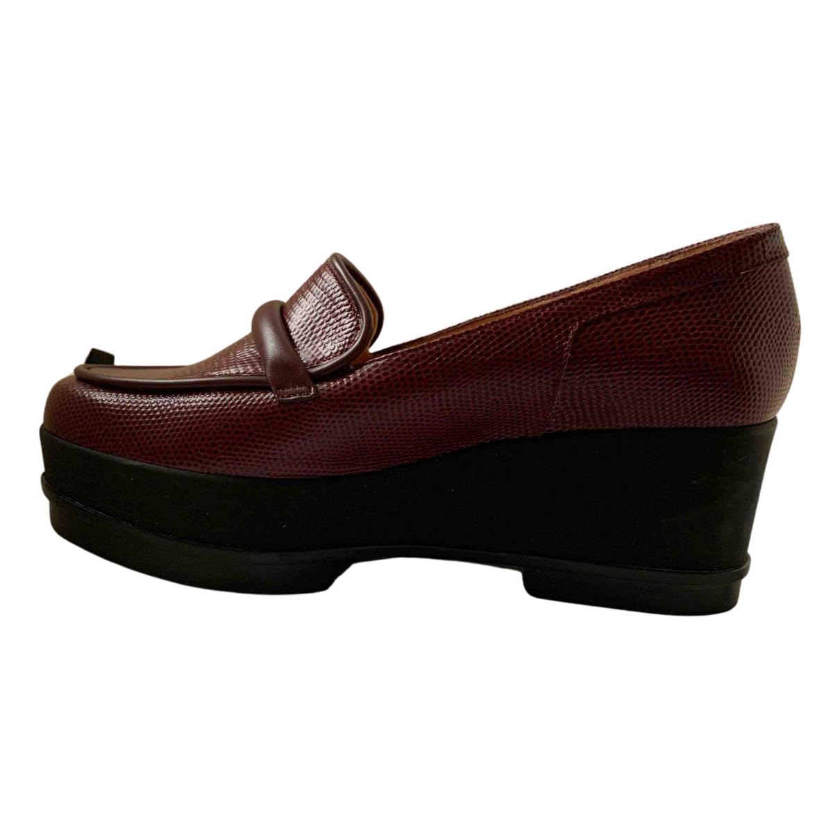 Robert Clergerie N Burgundy Leather Flats for Women 38.5 EU