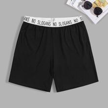 Men Contrast Slogan Waist Night Shorts