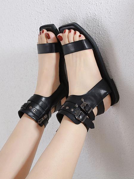 Milanoo Coffee Brown Gladiator Sandals PU Leather Square Toe PU Women\'s Sandals