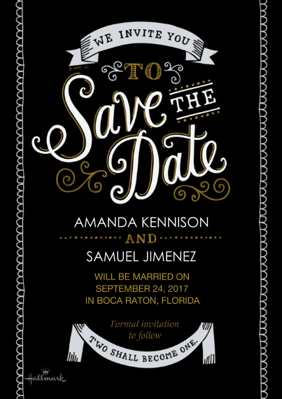 Save the Date 5x7 Cards, Premium Cardstock 120lb, Card & Stationery -Curly Lettering - Black