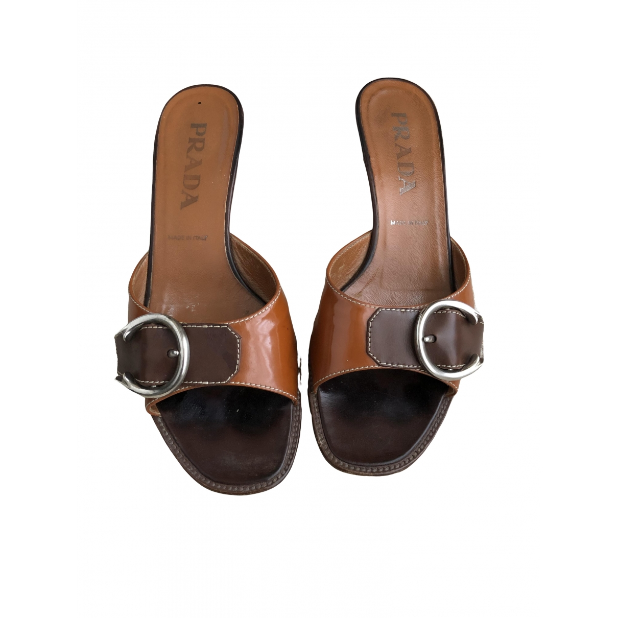 Prada \N Brown Leather Mules & Clogs for Women 37 EU