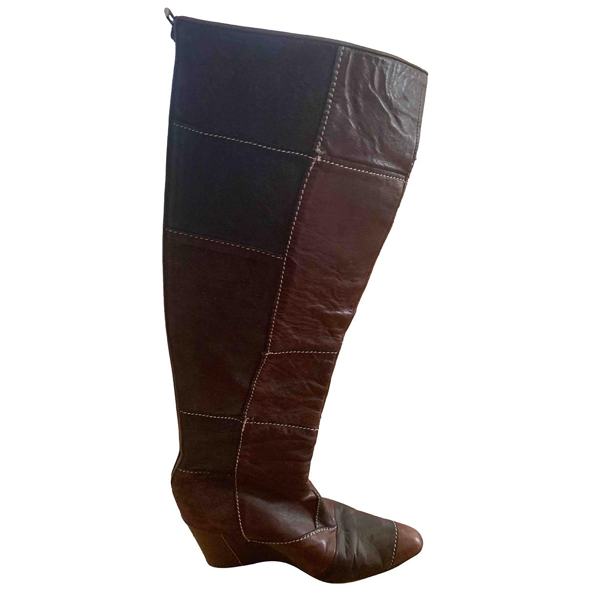 Alexander Mcqueen - Bottes   pour femme en cuir - marron