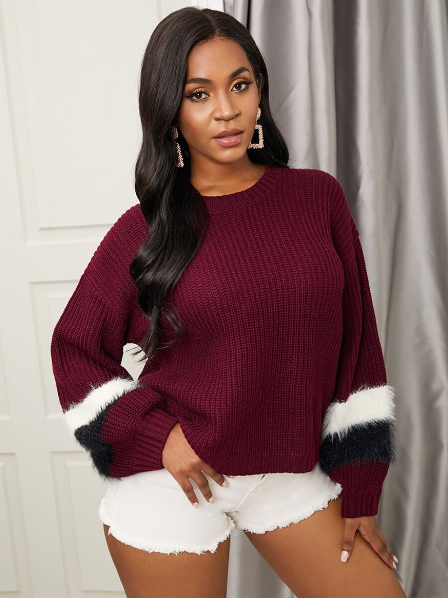 LW Lovely Stylish Striped Patchwork Wine Red Sweater