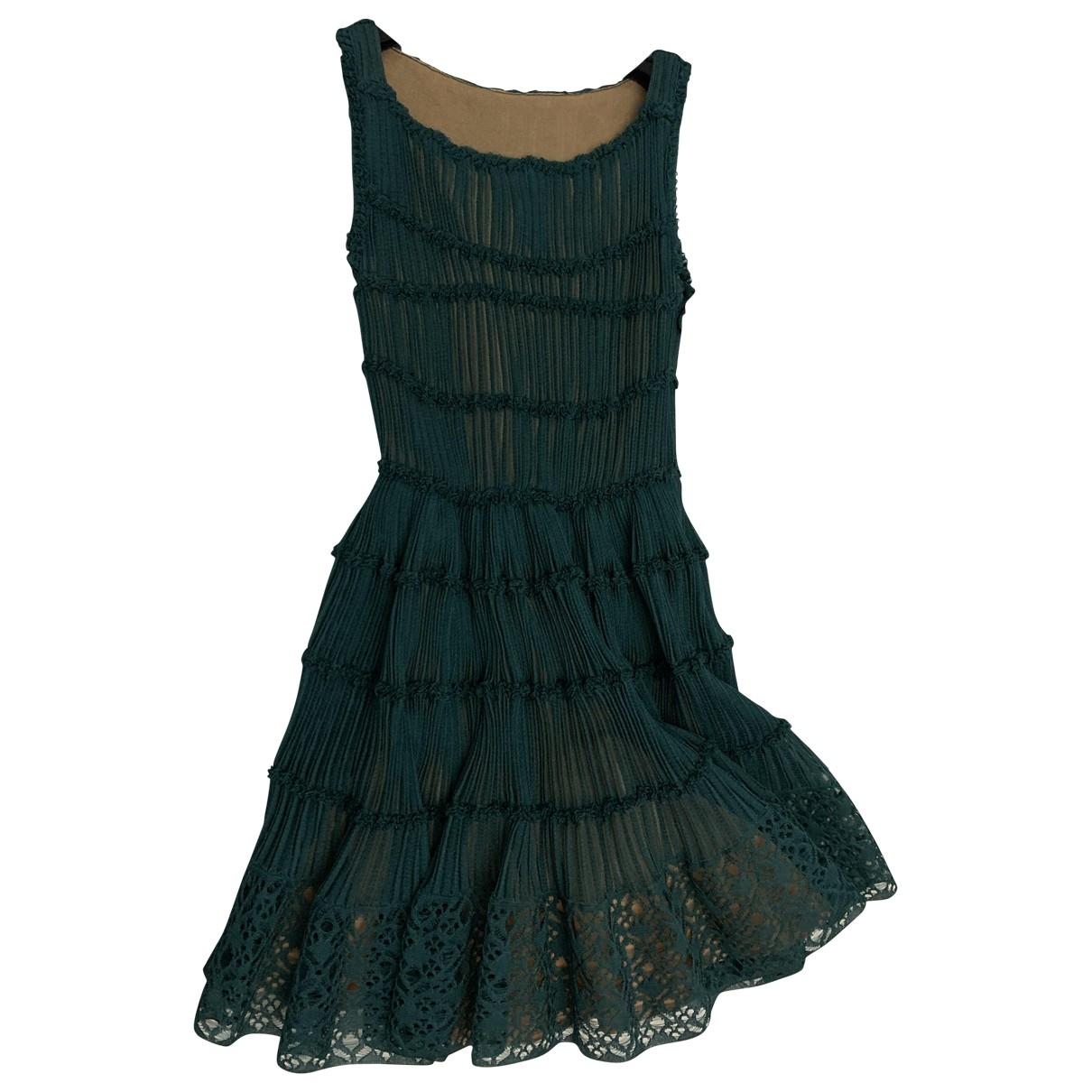 Alaïa \N Green Silk dress for Women 38 FR