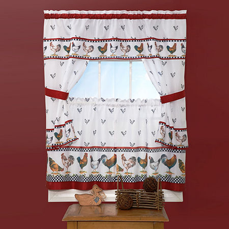Top of the Morning Cottage Rod-Pocket Window Tiers & Tailored Topper Set, One Size , Black
