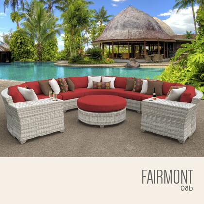 FAIRMONT-08b-TERRACOTTA Fairmont 8 Piece Outdoor Wicker Patio Furniture Set 08b with 2 Covers: Beige and