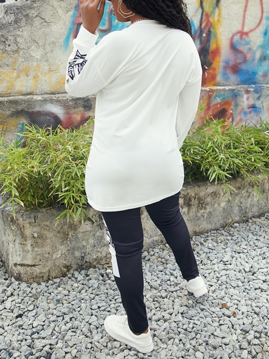 LW lovely Casual O Neck Print Black Plus Size Two-piece Pants Set