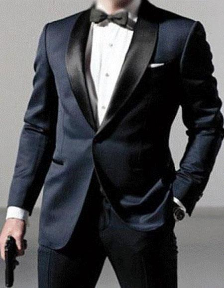 MenÕs Satin Shawl Lapel Wool Blend navy tuxedo suit