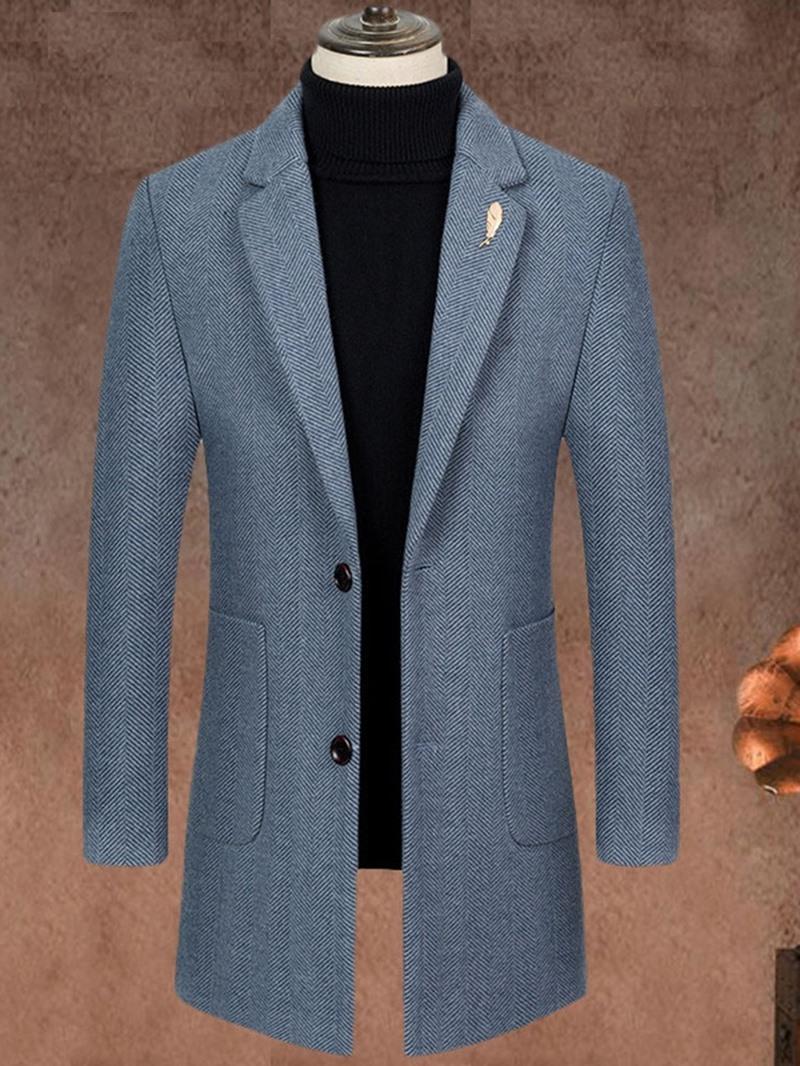 Ericdress Notched Lapel Mid-Length Stripe Fall Slim Coat