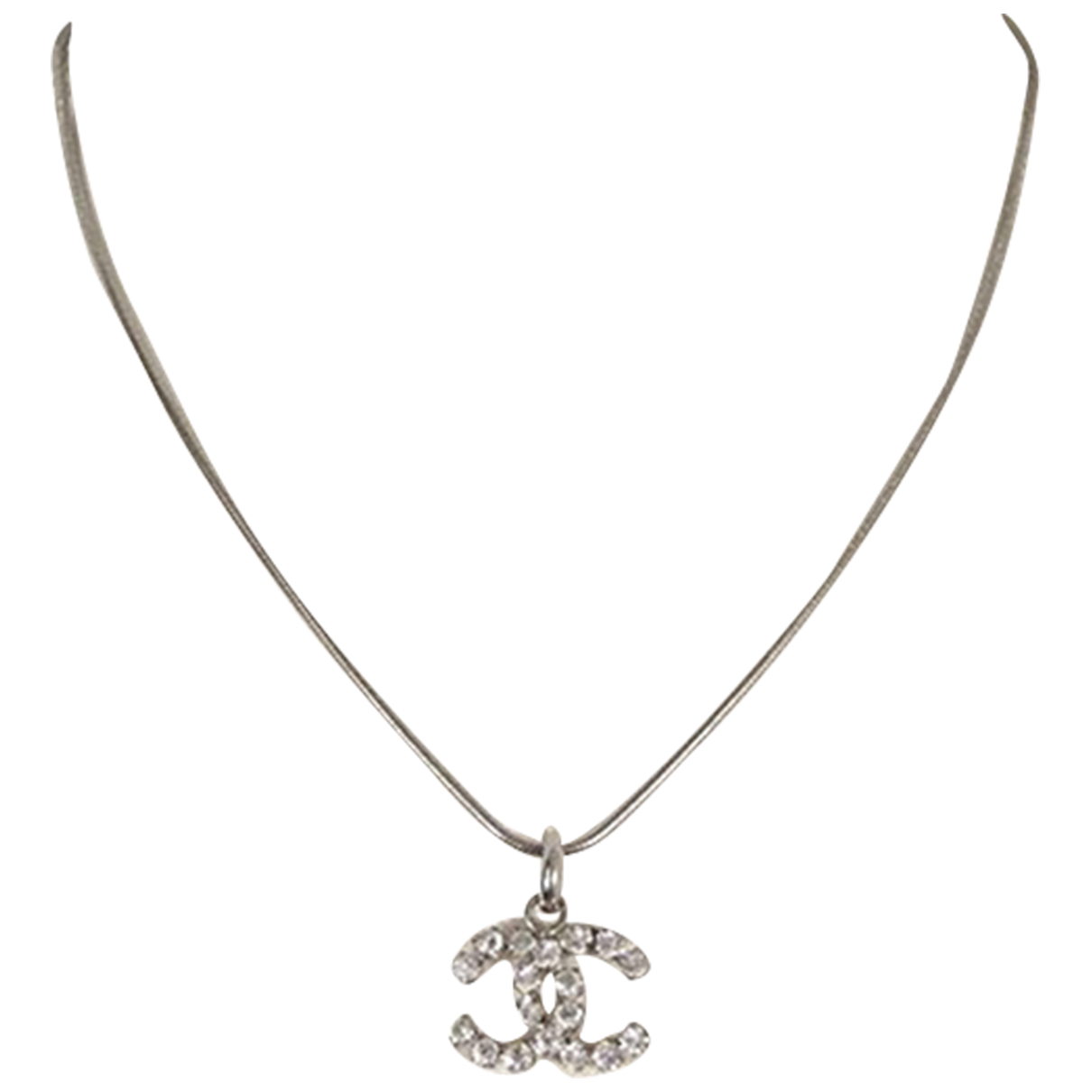 Chanel \N Kette in  Silber Metall