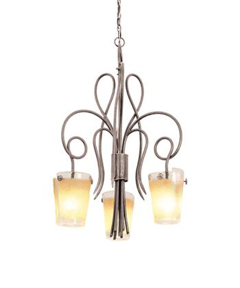 Tribecca 4298PS/FROST 3-Light Chandelier in Pearl Silver with Small Frost Side Glass