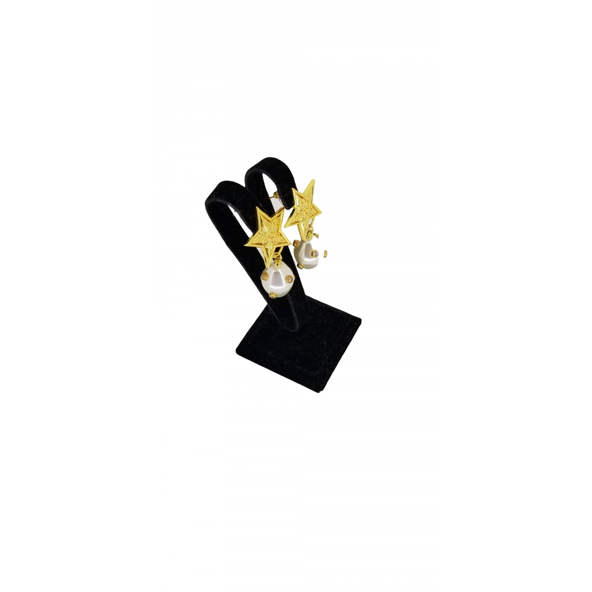 Non Signe / Unsigned Motifs Etoiles OhrRing in  Gelb Gelbgold