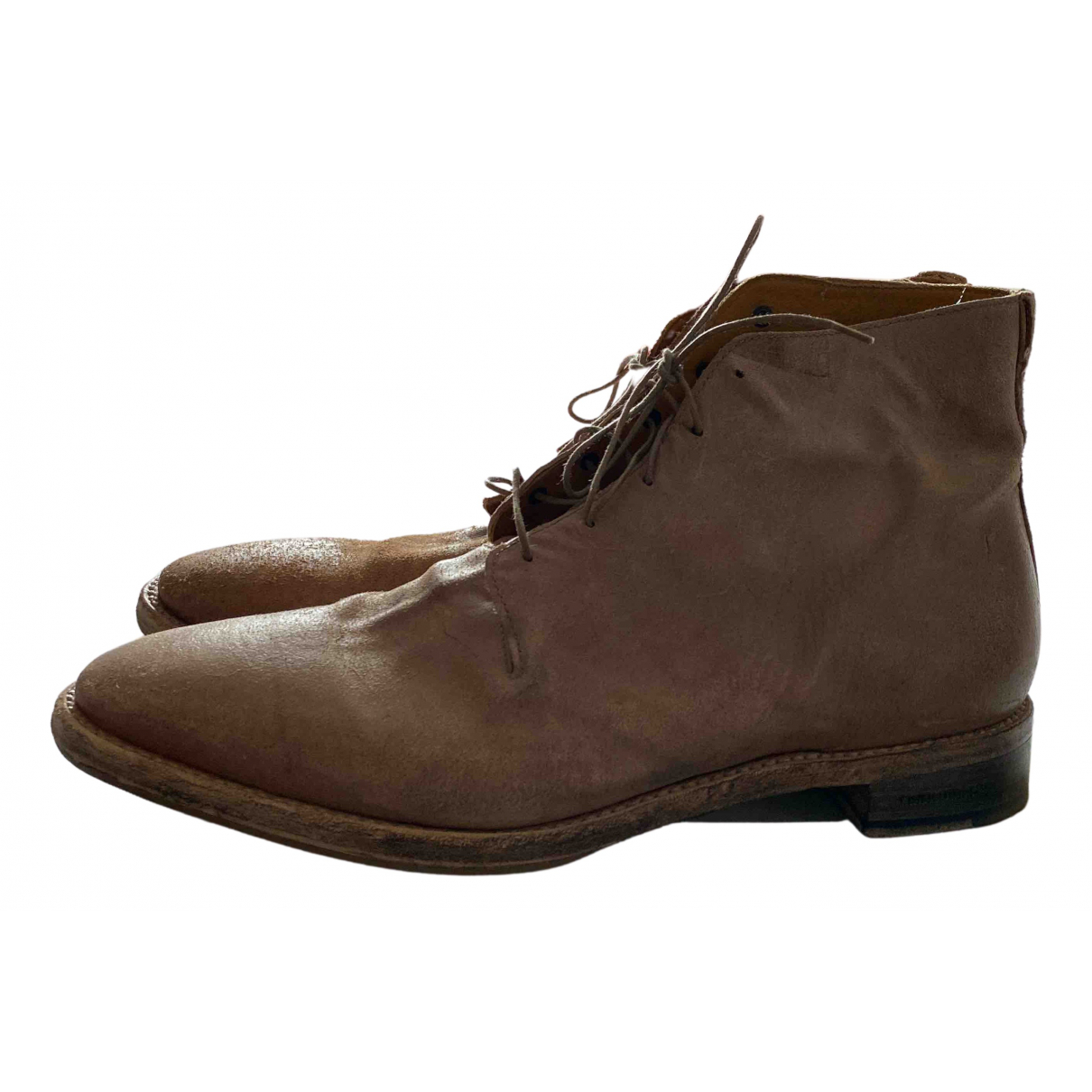 Dsquared2 N Beige Leather Boots for Men 43 EU