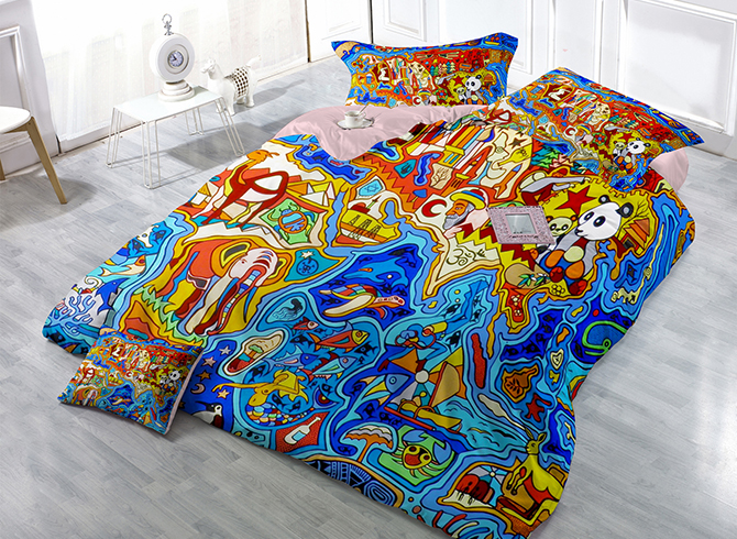 Luxury Creative Cartoon Animals Wear-resistant Breathable High Quality 60s Cotton 4-Piece 3D Bedding Sets