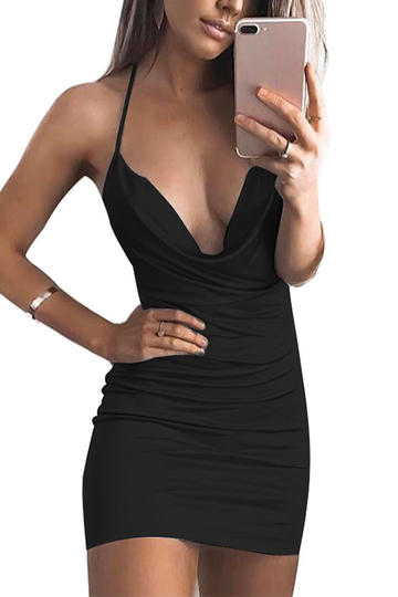 Yoins Black Halter Backless Bodycon Dress