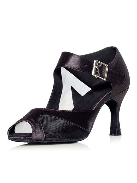 Milanoo Unique Purple Peep Toe Silk And Satin Latin Dance Shoes