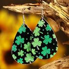Lucky Shamrock PU Leather Earrings - Dark Green