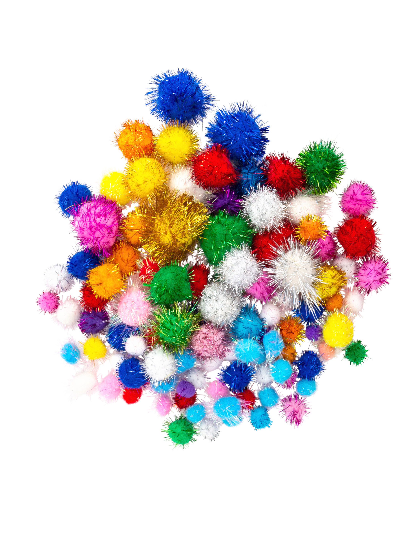 Kostuemzubehor Pompons Glitzer bunt 100 Stk. Farbe: multicolor bzw. bunt