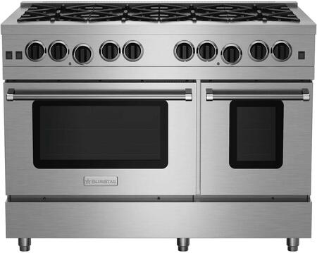 RCS48SBV2CCPLT 48 RCS Series Freestanding Range with 8 Sealed Burners  Extra-Large Convection Oven  Infrared Broiler  Black Enameled Top  and