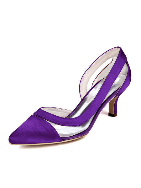 Milanoo Zapatos de tacon medio bajo para mujer Zapatos de punta puntiaguda Tacones sin cordones Elegantes bombas