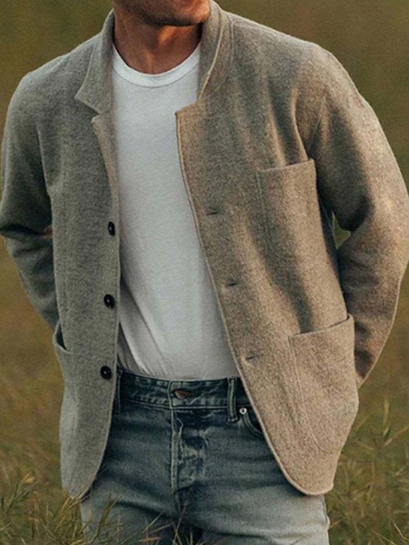 Ericdress Plain Lapel Pocket Single-Breasted Fall Men's Jacket