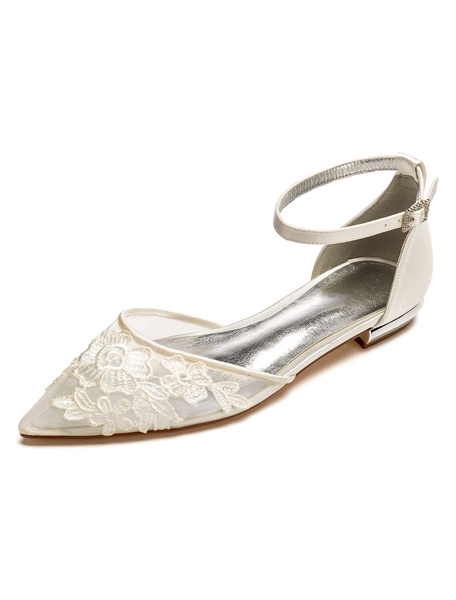 Milanoo White Wedding Shoes Pointed Toe Floral Detail Ankle Strap Flat Bridal Shoes Satin Bridesmaid Shoes