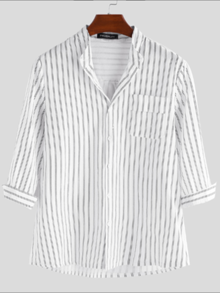 Yoins INCERUN Men Casual Stripe Button Up Stand Collar Shirt