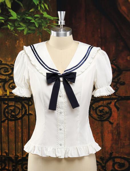 Milanoo Camisa blanca de algodon de manga corta de estilo academico
