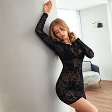 Flocked Floral Sheer Mesh Bodycon Dress Without Lingerie Set