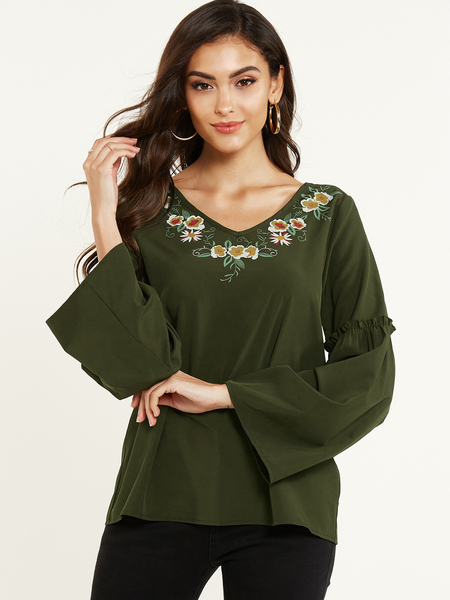 YOINS Army Green Tribal Printed V-neck Long Sleeves Blouse