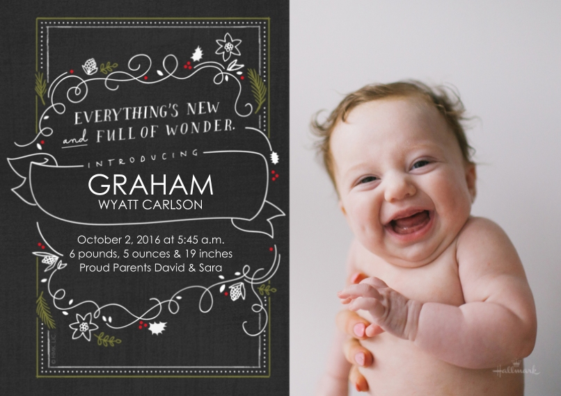 Newborn 5x7 Cards, Premium Cardstock 120lb with Rounded Corners, Card & Stationery -Holly Wonder Chalkboard