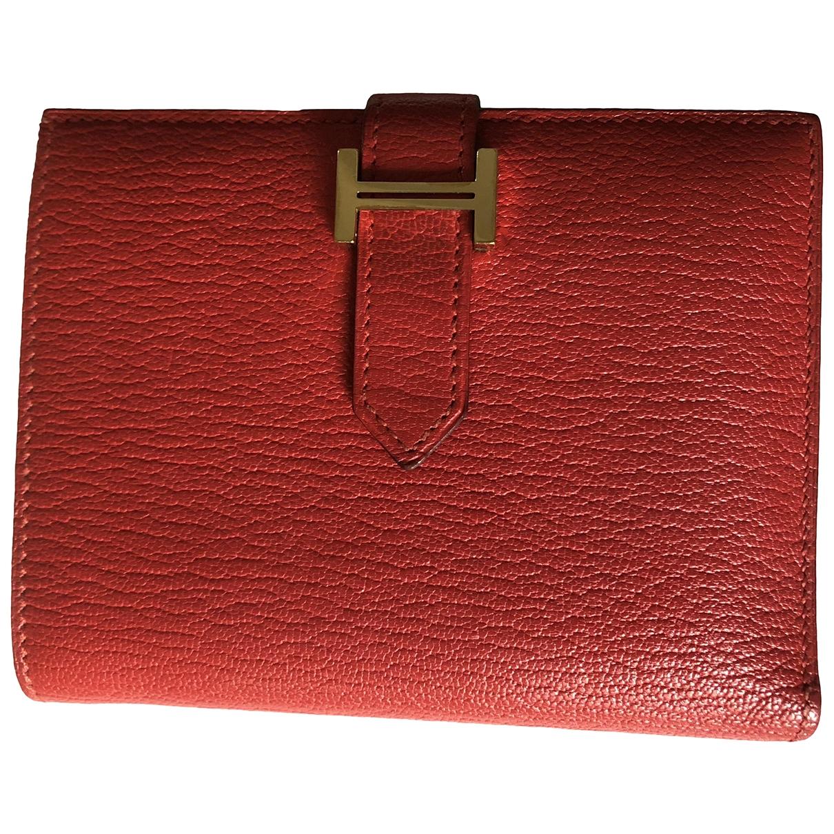 Hermes Bearn Portemonnaie in  Rot Leder