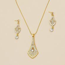 3 piezas set de joya con diamante de imitacion