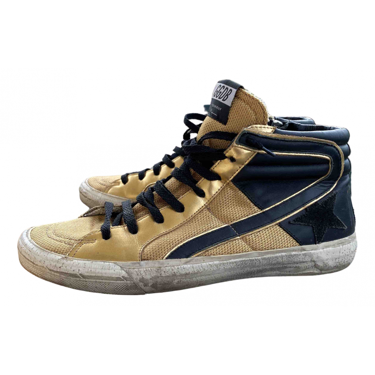 Golden Goose Slide Gold Leather Trainers for Men 41 EU