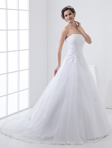 Milanoo White Wedding Dresses Strapless Bridal Gown Lace Beading Side Draped Bridal Dress With Train