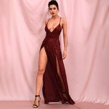Crisscross Backless Sequin Cami Dress