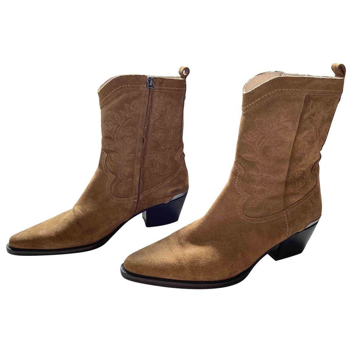 Massimo Dutti - Boots   pour femme en suede - marron