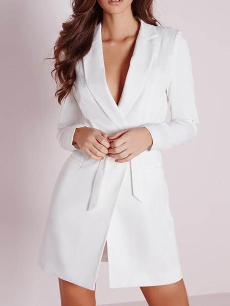 Ericdress Long Sleeve Plain Lace-Up Notched Lapel Office Lady Blazer
