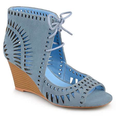 Journee Collection Womens Zola Pumps Wedge Heel, 9 Medium, Blue