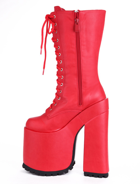 Milanoo Women Sexy Shoes Red Platform Lace Up High Heels Booties