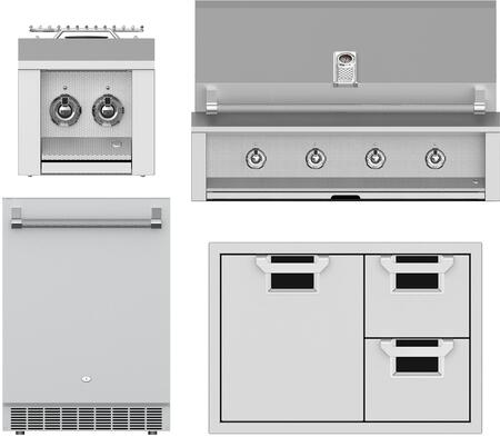 4 Piece Grill Package with EAB42NG 42 Natural Gas Grill  AEB122NG 12 Natural Gas Side Burner  AESDR30BK 30 Storage Drawer and ERS24 24 Built-In