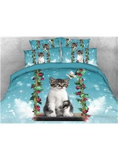 Cat on the Swing Soft Warm Duvet Cover Set 4-Piece 3D Animal Bedding Set