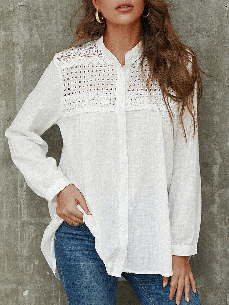 Lace Patchwork Irregular Casual Plus Size Shirt